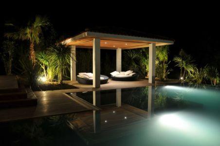 salon terrasse de nuit - Villa Hermitage - Arbonne, France