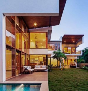 salon terrasse design - L-Plan-House Klosla Associates - Bangalore, Inde