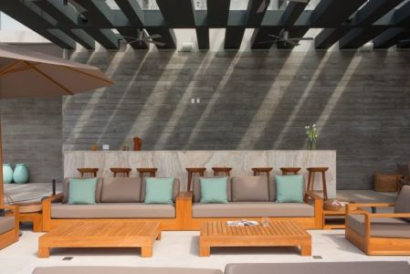 salon terrasse design - luxury residence par Ezequiel Farca - Marina de Puerto Vallarta, Mexique