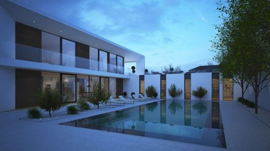 salon terrasse design & piscine nuit - maison exclusive par A.Mascow Architects - Almaty,Kazakhstan