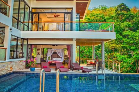 salon terrasse design & piscine - villa contemporaine - Phuket, Thaïlande