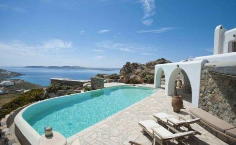 salon terrasse & piscine - villa-grecque - île Mykonos, Grèce