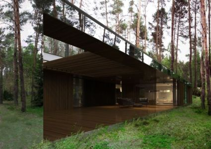 salon terrasse - Izabelin House par REFORM Architekt - Varsovie, Pologne