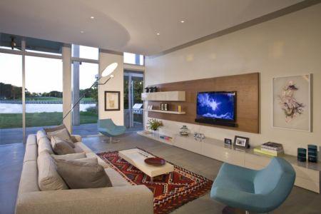 salon tv - Boano Lowensitein Residence par KZ Architecture - Miami, Usa