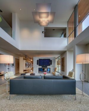 salon tv et lustre magistral - City View Residence par Dick Clark Architecture - Austin, Usa