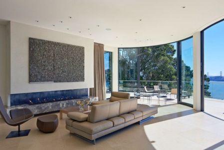salon & vue panoramique baie - maison exclusive par Polsky Perlstein Architectes - San Francisco, USA
