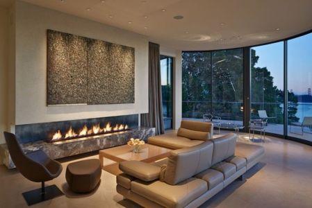 salon & vue panoramique baie nuit - maison exclusive par Polsky Perlstein Architectes - San Francisco, USA