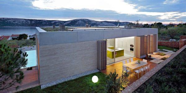 terrasse arrière de nuit - Olive House par LOG-URBIS - Pag, Croatie