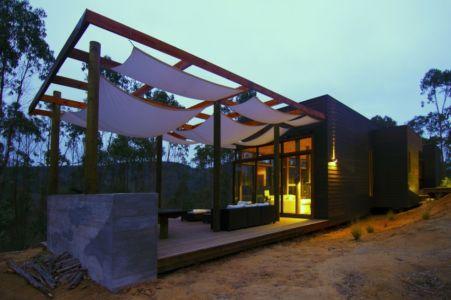 terrasse de nuit - Casa Tunquén par CO2 Arquitectos - Vaparaiso, Chili