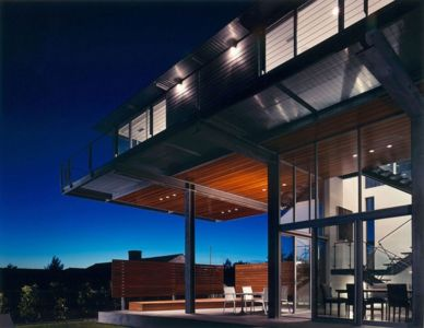 terrasse de nuit - Eaton Residence par E. Cobb Architects - Seattle, Usa - Photo Paul Warchol