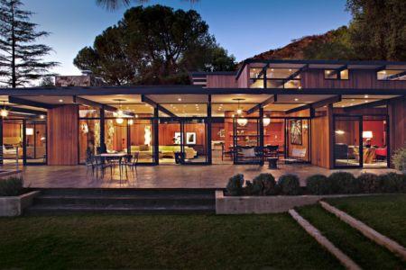 terrasse de nuit - La Cañada Residence par Jamie Bush & Co. - Sierra Madre, Usa