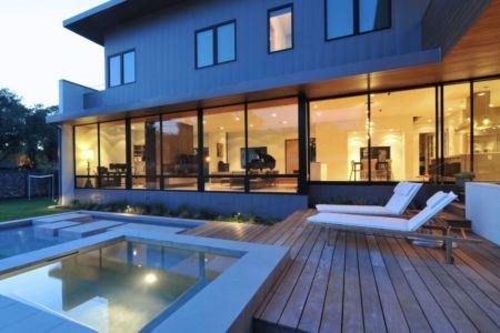 terrasse de nuit - Underwood House par StudioMET - Houston, Usa