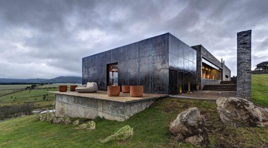 terrasse et entrée - Casa BS par  Elías Rizo Arquitectos - Tapalpa, Mexique