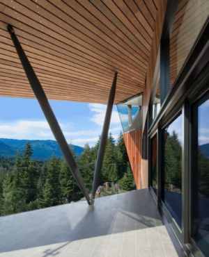 terrasse et panorama - Hadaway house par Patkau architects - Whistler valley, Canada