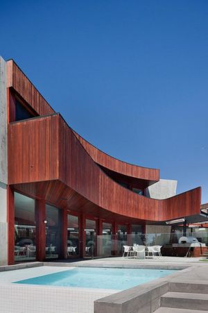 terrasse et piscine - Maison contemporaine bois béton par BG Architecture - Melbourne, Australie