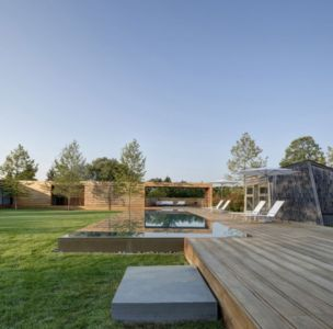 terrasse et piscine - Mothersill par Bates Masi Architects - Water Mill, Usa