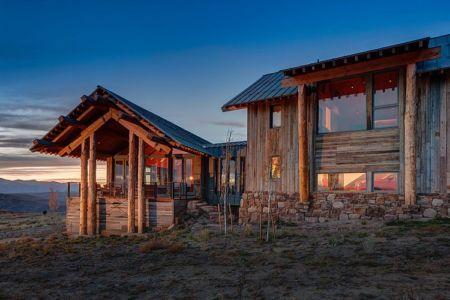 terrasse façade ouest - Wolf Creek Ranch par S+D Architects - Utah, Usa