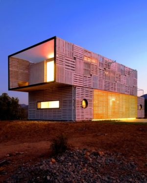 terrasse fermée de nuit - Infiniski Manifesto House par james&mau arquitectura - Curacaví, Chili - photo Antonio Corcuera