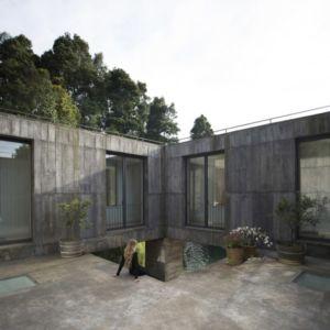 terrasse intérieure - Guna house par Pezo von Ellrichshausen - Llacolén, Chili