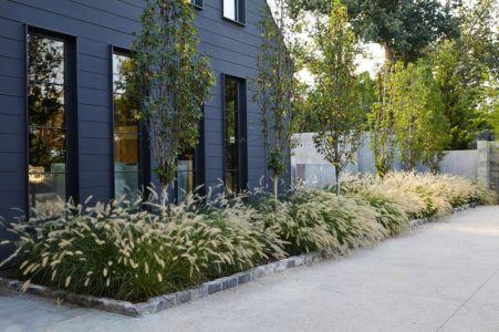 parterres fleurs entrée - maison bois contemporaine par Architect - Nashville, USA