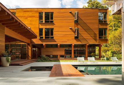 terrasse piscine - Chalon residence par Dynerman Architects - Bethesda, Usa