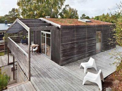 terrasse supérieure et toit végétalisé - Green Bean House par Arctic Studio - Onsala, Suède