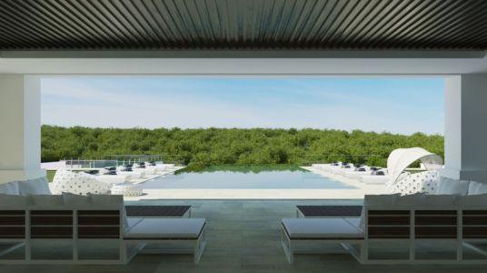 terrasse vue sur piscine - luxueuse villa par Ark Architects - San Roque, Espagne