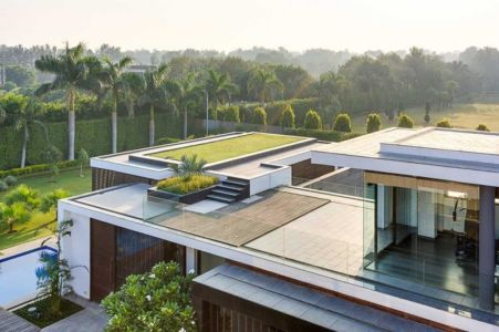 toiture terrasse - Center Court Villa par DADA Partners - New Delhi, Inde