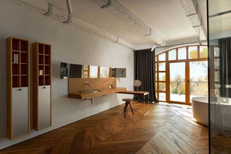 vaste salle de bains & porte vitrée - Residence-BO par Baraban+design studio - Kiev, Ukraine