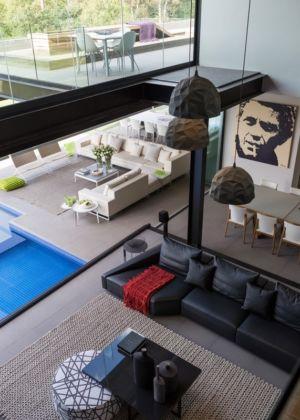 vue aérienne salon - House Blair Atholl par Nico van der Meulen Architects - Blair Atholl, Afrique du Sud