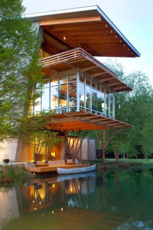vue baie vitrée second étage & étang - Pond-House par Holly-Smith-&-Architectes - Louisiane, USA