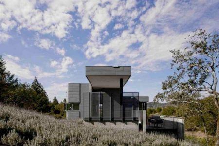 vue côté - Maison contemporaine béton par Cooper Joseph Studio - Sonoma, Usa