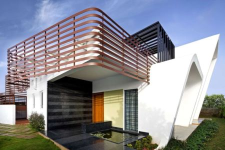 vue d'ensemble - courtyard-house par The Purple Ink Studio - Bengaluru, Inde