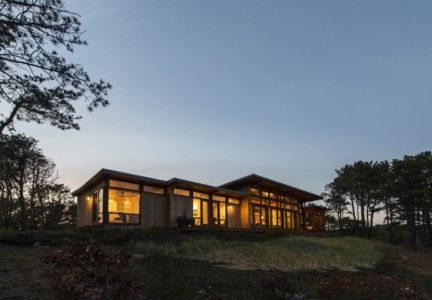 vue d'ensemble de nuit - Long Dune Residence par Hammer Architects - Truro, Usa