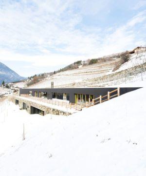 vue d'ensemble hiver - Structure-Slope par Bergmeister Wolf Architekten - Bozen, Italie