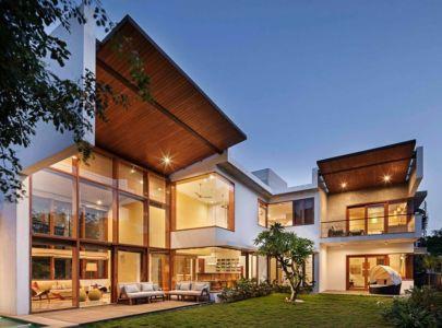 vue d'ensemble illuminée - L-Plan-House Klosla Associates - Bangalore, Inde