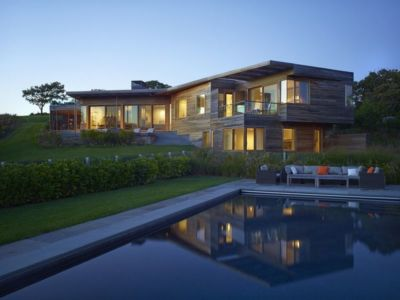vue d'ensemble nuit - Vineyard-Farm-House par Charles Rose Architectes - Vineyard, USA