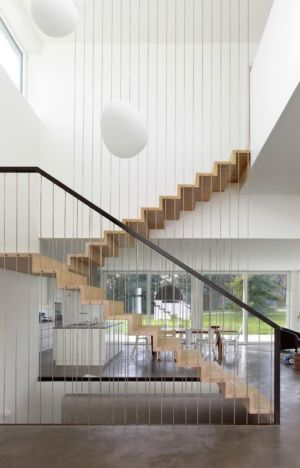 vue escalier bois - Single-family-house par Christian von Düring architecte, Suisse