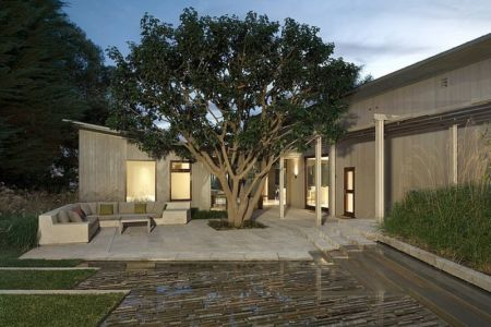 vue extérieure de nuit - Malibu House par Dutton Architects - Usa