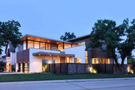 vue extérieure de nuit - Underwood House par StudioMET - Houston, Usa