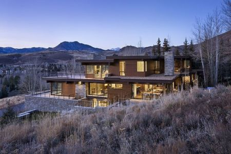 vue extérieure - maison bois et pierre contemporaine - Sun Valley, Usa