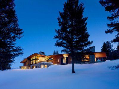 vue extérieure nuit - Butte Residence par Carney Logan Burke Architects - Jackson, Usa