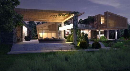 vue extérieure nuit - House in Forest par Bracia Burawscy Architekci s - Varsovie, Pologne