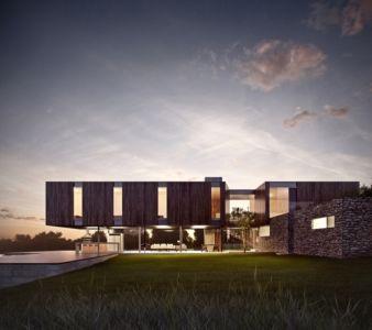 vue extérieure nuit - MM house par Sergio Sampaio - Brésil