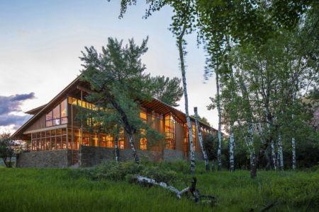 vue extérieure nuit - Montana Glass Home par Cutler Anderson Architects - Montana, Usa