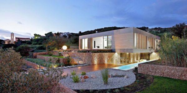 vue extérieure nuit - Olive House par LOG-URBIS - Pag, Croatie