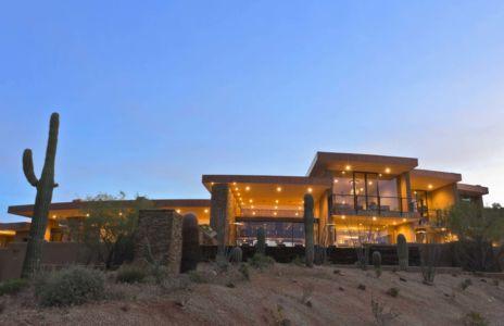 vue extérieure nuit - Sefcovic Residence par Tate Studio Architects - Usa
