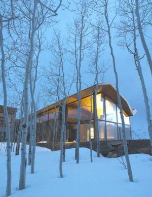 vue extérieure nuit - Wildcat Ridge residence par Voorsanger Architects - Aspen, Usa