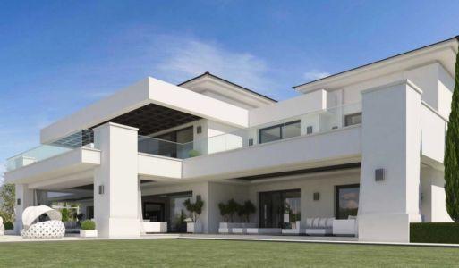 vue façade - luxueuse villa par Ark Architects - San Roque, Espagne