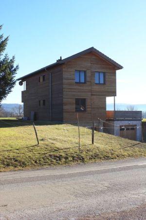 vue façade nord - maison ossature bois par Eric Viprey, Cambiums - France